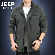 Jacket Jeep / Jeep Fashion City M,L,XL,2XL,3XL routine Loose Other leisure autumn Long sleeves Wear out Detachable cap Business Casual youth routine Zipper placket Straight hem washing The appearance is loose and the inside is closed Solid color Arrest line Bag digging with open cut thread