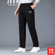 Casual pants Jeep / Jeep Fashion City routine trousers motion Straight cylinder Micro bomb autumn teenagers American leisure middle-waisted Straight cylinder Cotton 95% polyurethane elastic fiber (spandex) 5% Sports pants printing washing Solid color cotton cotton International brands