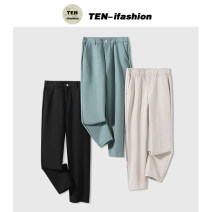 Western-style trousers Yiyi concept Youth fashion Black, apricot, haze blue 28 [90-105], 29 [108-116], 30 [120-125], 31 [126-133], 32 [165-140], 33 [145-150], 34 [153-162], 36 [165-170], 38 [175-185] TEN-8902 trousers Slim fit spring leisure time youth Japanese Retro Solid color 2021