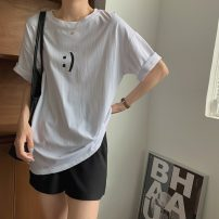 T-shirt White, black Average size Summer 2021 Short sleeve Crew neck Straight cylinder Regular routine commute cotton 71% (inclusive) - 85% (inclusive) 18-24 years old Korean version letter 8287H printing