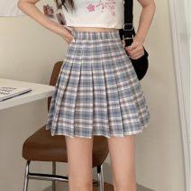 skirt Summer 2021 S,M,L Purple grid, blue grid Short skirt commute High waist Pleated skirt lattice Type A 18-24 years old 7020X 71% (inclusive) - 80% (inclusive) polyester fiber Korean version