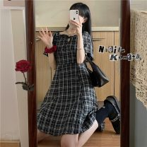 Dress Summer 2021 Picture color M, L Mid length dress singleton  Short sleeve commute square neck High waist lattice zipper A-line skirt routine Others 18-24 years old Type A Other / other Korean version 9346F 51% (inclusive) - 70% (inclusive) cotton