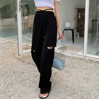 Casual pants Gray, black Average size Summer 2021 trousers Wide leg pants High waist commute routine 18-24 years old 71% (inclusive) - 80% (inclusive) 8293H Korean version hole cotton