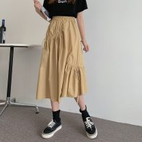 skirt Summer 2021 Average size Black, card Mid length dress commute High waist A-line skirt Solid color Type A 18-24 years old 9077H 81% (inclusive) - 90% (inclusive) polyester fiber Pleating Korean version