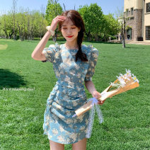 Dress Summer 2021 Picture color S, M Short skirt singleton  Short sleeve commute Crew neck High waist Broken flowers A-line skirt Others 18-24 years old Korean version Splicing 16626F 51% (inclusive) - 70% (inclusive) polyester fiber