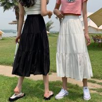 skirt Summer 2021 Average size Black long, white long, black short, white short Mid length dress commute High waist A-line skirt Solid color Type A 18-24 years old 557H 81% (inclusive) - 90% (inclusive) polyester fiber Korean version