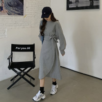 Dress Spring 2021 Gray, black Average size Mid length dress singleton  Long sleeves commute Crew neck Loose waist Solid color Irregular skirt routine Others 18-24 years old Korean version 6507F 51% (inclusive) - 70% (inclusive) cotton