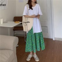 Fashion suit Summer 2021 Average size White T, green skirt 18-25 years old 7695H 71% (inclusive) - 80% (inclusive) cotton