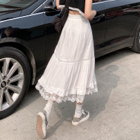 skirt Summer 2021 Average size White, black longuette commute High waist A-line skirt Solid color Type A 18-24 years old 8337M 51% (inclusive) - 70% (inclusive) polyester fiber Splicing Korean version