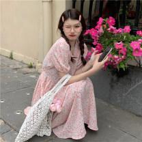Dress Summer 2021 Blue, pink Average size Mid length dress singleton  Short sleeve commute V-neck High waist Decor Socket routine 18-24 years old Korean version 310M 51% (inclusive) - 70% (inclusive) polyester fiber