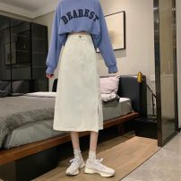 skirt Summer 2021 XS,S,M,L,XL White, blue, black Mid length dress commute High waist A-line skirt Solid color Type A 18-24 years old 71% (inclusive) - 80% (inclusive) cotton Korean version