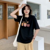 T-shirt Apricot, white, black Average size Summer 2021 Short sleeve Crew neck Straight cylinder Regular routine commute cotton 51% (inclusive) - 70% (inclusive) 18-24 years old Korean version 8029X
