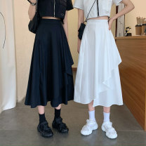skirt Summer 2020 S,M,L White, black Mid length dress commute High waist Irregular Solid color Type A 18-24 years old 9185H 71% (inclusive) - 80% (inclusive) polyester fiber fold Korean version