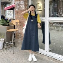 Fashion suit Summer 2021 Average size Yellow short sleeve, green vest skirt 18-25 years old 9626X 51% (inclusive) - 70% (inclusive) cotton
