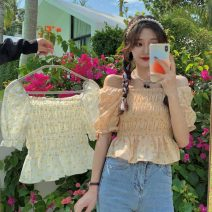 shirt Lotus root powder broken flower, rice white broken flower Average size Summer 2021 polyester fiber 71% (inclusive) - 80% (inclusive) Short sleeve commute Short style (40cm < length ≤ 50cm) square neck Socket puff sleeve Broken flowers 18-24 years old Self cultivation Korean version 555H