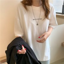 T-shirt Average size Spring 2020 Short sleeve Crew neck easy Regular routine commute cotton 96% and above 18-24 years old Korean version