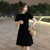 Dress Summer 2021 Red, black Average size Middle-skirt singleton  Short sleeve commute Crew neck High waist Solid color Socket A-line skirt routine 18-24 years old Type A Korean version 078H 71% (inclusive) - 80% (inclusive) polyester fiber