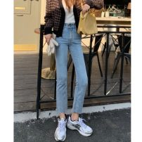 Jeans Spring 2021 blue S,M,L Ninth pants High waist Straight pants routine 18-24 years old washing Cotton elastic denim light colour 5067W 51% (inclusive) - 70% (inclusive)