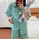Pajamas / housewear set female Other / other Average size Green lattice, pink lattice Polyester (polyester) Short sleeve Simplicity summer Thin money Small lapel lattice shorts Front buckle youth 2 pieces rubber string 41% (inclusive) - 60% (inclusive) 7829M