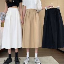 skirt Spring 2021 S,M,L Khaki, white, black Mid length dress commute High waist A-line skirt Solid color Type A 18-24 years old 832X 71% (inclusive) - 80% (inclusive) polyester fiber Korean version