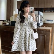 Dress Spring 2021 White, black Average size Middle-skirt singleton  Long sleeves commute V-neck High waist Broken flowers A-line skirt 18-24 years old Type A Korean version 71% (inclusive) - 80% (inclusive) polyester fiber