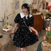 Dress Summer 2021 Black embroidered skirt S,M,L Short skirt singleton  Short sleeve commute Doll Collar High waist A-line skirt Others 18-24 years old Korean version 31% (inclusive) - 50% (inclusive) polyester fiber
