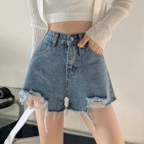 Jeans Summer 2021 shorts High waist Wide legged trousers routine 18-24 years old Cotton denim 16829H 71% (inclusive) - 80% (inclusive) summer S,M,L,XL Picture color