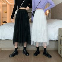 skirt Summer 2021 Average size White, black Mid length dress commute High waist Pleated skirt Solid color Type A 18-24 years old 6122X 71% (inclusive) - 80% (inclusive) cotton Gauze Korean version