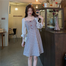 Dress Summer 2021 Purple, blue Average size Middle-skirt singleton  Long sleeves commute square neck High waist lattice zipper A-line skirt Others 18-24 years old Type A Other / other Korean version 1251F 51% (inclusive) - 70% (inclusive) cotton