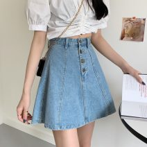 skirt Summer 2021 S,M,L blue Short skirt commute High waist Denim skirt Solid color Type A 18-24 years old 3126H 81% (inclusive) - 90% (inclusive) cotton Korean version