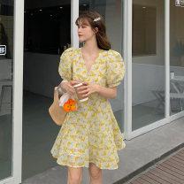 Dress Summer 2021 Green, yellow S, M Short skirt singleton  Short sleeve commute V-neck High waist Broken flowers A-line skirt puff sleeve Others 18-24 years old Type H Korean version 9096F 51% (inclusive) - 70% (inclusive) polyester fiber