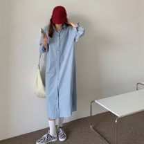 Dress Spring 2021 Rose red, haze blue Average size Middle-skirt singleton  Long sleeves commute Polo collar Solid color Single breasted routine 18-24 years old Type A Korean version 8212X 51% (inclusive) - 70% (inclusive) polyester fiber