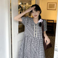 Dress Summer 2021 Black and white Average size Mid length dress singleton  Long sleeves commute Doll Collar High waist A-line skirt routine Others 18-24 years old Korean version 31% (inclusive) - 50% (inclusive) polyester fiber