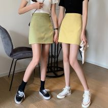 skirt Spring 2021 S,M,L,XL Apricot, green, yellow, black Short skirt commute High waist A-line skirt 18-24 years old 5825F 71% (inclusive) - 80% (inclusive) polyester fiber Korean version
