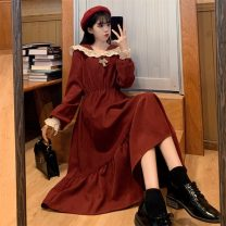 Dress Winter 2020 Red, black Average size Mid length dress singleton  Long sleeves commute High waist Solid color Socket A-line skirt routine Others 18-24 years old Type A Korean version 8285F 51% (inclusive) - 70% (inclusive) polyester fiber