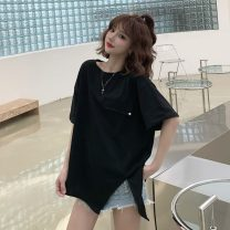 T-shirt White, black Average size Summer 2021 Short sleeve Crew neck easy Regular commute cotton 71% (inclusive) - 85% (inclusive) 18-24 years old Korean version Solid color 3629H