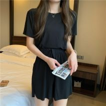 Pajamas / housewear set female Other / other Average size Gray, pink, green, yellow, black Polyester (polyester) Short sleeve Leisure home summer Thin money Crew neck shorts 2 pieces 41% (inclusive) - 60% (inclusive) 3252F