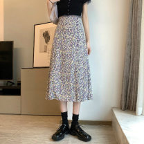 skirt Summer 2021 S,M,L Purple, blue, pink Mid length dress commute High waist A-line skirt Solid color Type A 18-24 years old 59012M 51% (inclusive) - 70% (inclusive) polyester fiber Korean version