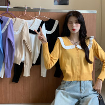 Wool knitwear Spring 2021 Average size Apricot, white, purple, blue, yellow, black Long sleeves singleton  Cardigan Viscose 81% (inclusive) - 90% (inclusive) Regular routine commute Straight cylinder Doll Collar routine Solid color Single breasted Korean version 6300F 18-24 years old