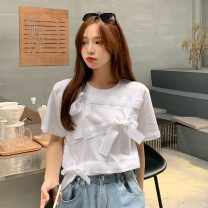 T-shirt White, black Average size Spring 2021 Short sleeve Crew neck easy Regular routine commute cotton 31% (inclusive) - 50% (inclusive) 18-24 years old Korean version 9112F