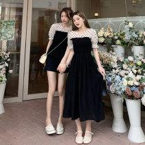 Dress Summer 2021 Short polka dot skirt, long polka dot skirt Average size Short skirt Fake two pieces Short sleeve commute Crew neck High waist Socket 18-24 years old Korean version 99116M 51% (inclusive) - 70% (inclusive) cotton