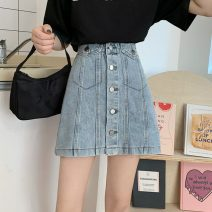 skirt Summer 2021 S,M,L,XL Light blue, black Short skirt commute High waist Denim skirt Solid color Type A 18-24 years old 3011H 81% (inclusive) - 90% (inclusive) cotton pocket Korean version