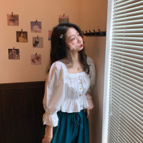 shirt White, blue Average size Summer 2021 polyester fiber 51% (inclusive) - 70% (inclusive) Short sleeve commute Short style (40cm < length ≤ 50cm) square neck Socket puff sleeve Solid color 18-24 years old Self cultivation Korean version 03061M