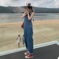Jeans Summer 2021 blue S,M,L trousers High waist rompers routine 18-24 years old Cotton denim Dark color 5300F 71% (inclusive) - 80% (inclusive)