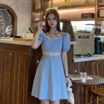 Dress Summer 2021 Blue short, blue long S, M Mid length dress singleton  Short sleeve commute square neck Elastic waist Solid color zipper A-line skirt routine Others 18-24 years old Type A Korean version 9062F 81% (inclusive) - 90% (inclusive) polyester fiber