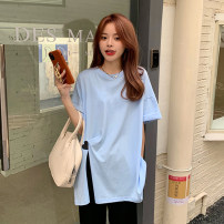 T-shirt White, blue Average size Summer 2021 Short sleeve Crew neck easy Regular routine commute cotton 51% (inclusive) - 70% (inclusive) 18-24 years old Korean version Solid color 7337M