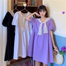 Dress Summer 2021 White, purple, black Average size Middle-skirt Two piece set Short sleeve commute V-neck Loose waist Solid color Socket routine 18-24 years old Type A Korean version 9352X 51% (inclusive) - 70% (inclusive) cotton