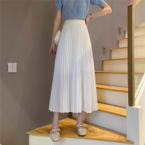 skirt Summer 2021 Average size White, black Mid length dress commute High waist Pleated skirt Solid color 18-24 years old 51062H 71% (inclusive) - 80% (inclusive) polyester fiber Gauze Korean version