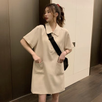 Dress Summer 2021 Apricot, black Average size Short skirt singleton  Short sleeve commute Polo collar High waist Solid color Three buttons A-line skirt routine 18-24 years old Type A Korean version pocket 1481M 31% (inclusive) - 50% (inclusive) polyester fiber