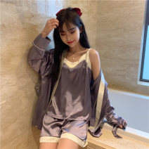 Pajamas / housewear set female Other / other Average size Pink, purple cotton Simplicity Leisure home summer routine shorts youth 3 pieces 41% (inclusive) - 60% (inclusive) 9225M